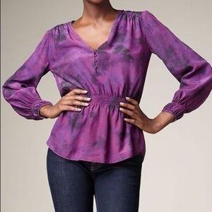 Rebecca Taylor purple tiedye peplum style silk top